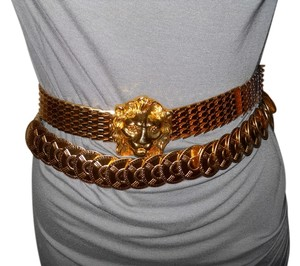 2 retro gold tone metal elastic belts
