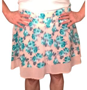 Xhilaration Mini Skirt Peach and blue floral