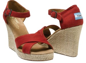 TOMS Canvas Strappy Comfortable Red Wedges
