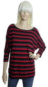 Joie Pima/modal Dolman Striped T Shirt Red Multi