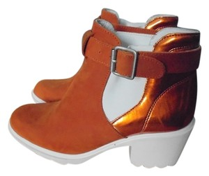 SWEAR London Ankle Leather Chunky Suede orange & white Boots