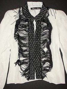 Winter Kate Kate Vintage Silk Bolero With Black Crochet Fringe Detail White Jacket