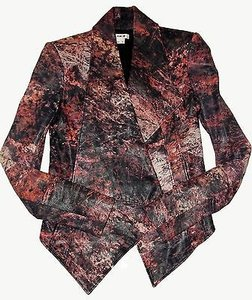 Helmut Lang Red Black Graphic Print Asymmetric Leather Blazer Multi-Color Jacket
