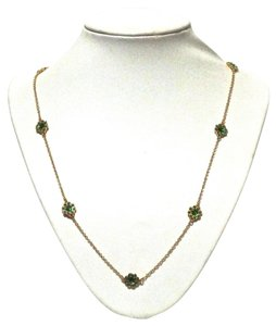 Kate Spade Kate Spade New York Gold Green Crystal Flower Scatter Long Necklace