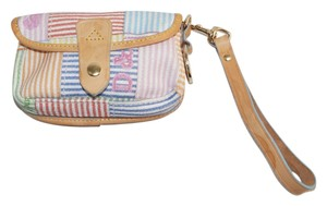 Dooney & Bourke Pink Blue Orange Canvas Tan Leather Trim Wristlet Small Pouch Wallet