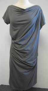 Brunello Cucinelli Designer Couture Luxury Cap Sleeve Draped Cut- Bodycon Shift Structured Exclusive Limited Edition Gray Bateau Neck Dress