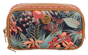 Tory Burch Orange Green Leather Gold Hardware Ziparound Reva Robinson Logo Monogram Print Floral Cosmetic New Multicolor Clutch