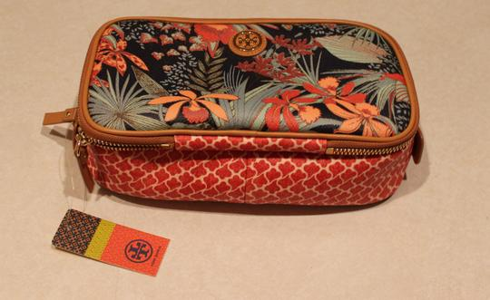 Tory Burch Orange Green Leather Gold Hardware Ziparound Reva Robinson Logo Monogram Print Floral Cosmetic Multicolor Clutch