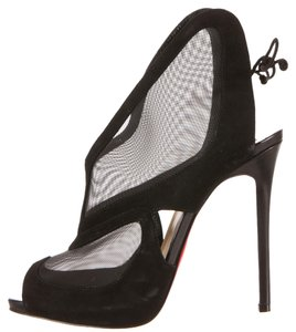 Christian Louboutin Suede Leather Mesh Fishnet Peep Toe Stiletto Slingback Ankle Pump Platform Hidden Platform New Red Sole Farfamesh 40 Black Boots
