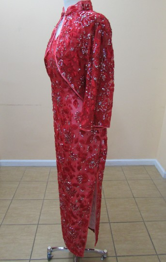 Cherry Red/Silver Hkmm 564 Formal Bridesmaid/Mob Dress Size 16 (XL, Plus 0x)