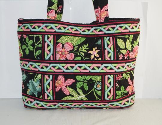 Vera Bradley Tote in Black Pink Green