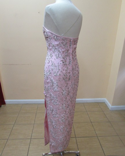 Light Pink/Silver Hkmm 563 Formal Bridesmaid/Mob Dress Size 14 (L)