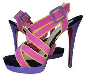 Christian Louboutin Heels Sandals Suede Multi Color Purple Pink Black Yellow Platforms