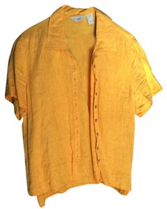 J. Jill J Linen Casual Top Saffron Orange