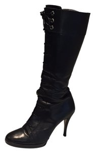 Via Spiga Leather Tall Lace Up Black Boots