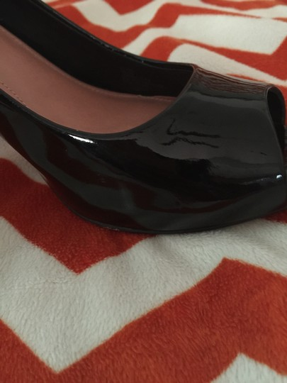 Vince Camuto Patent Leather Peep Toe Black Pumps