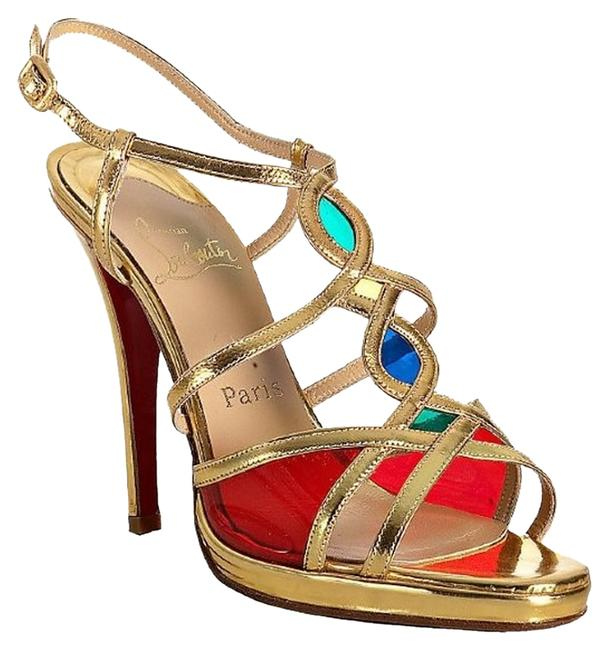 Item - Red Green Blue Gold Libelle 120 Libelle Leather and Pvc Specchio Multi Color Sandals Size US 9 Regular (M, B)