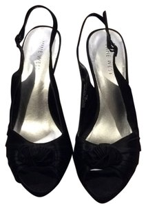 Nine West Evening Satin Slingback Heels 8 Dress Formal Cocktail Party Dressy Open Toe Black Platforms