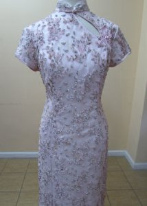 Light Pink/Silver Qi Pao Hkmm 562 Dress