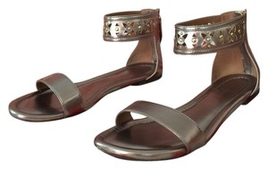 Adrienne Vittadini Zip Up Hardware Pewter and Gold Sandals