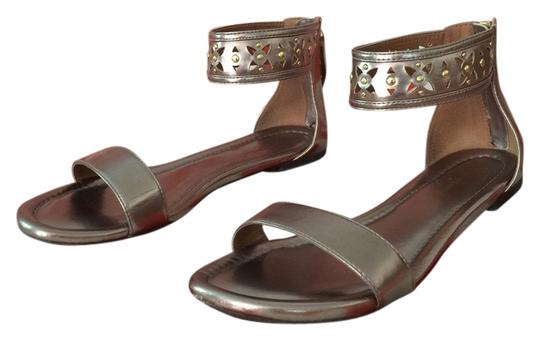 Preload https://item4.tradesy.com/images/adrienne-vittadini-zip-up-pewter-and-gold-sandals-5880538-0-0.jpg?width=440&height=440