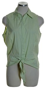 Lafayette 148 New York Sleeveless Tie-front Stretch Striped Button Down Shirt Yellow Green