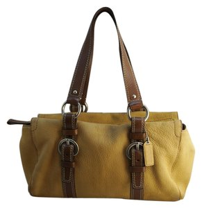 Coach Roomy Opens Wide Satchel in Camel/Tan