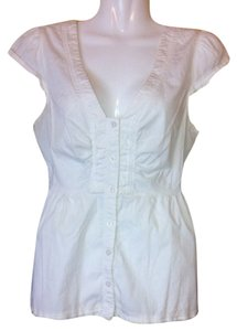 Anthropologie Odille Blouse Button Down Shirt White