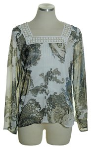 Badgley Mischka Square Neck Top Ivory Multi