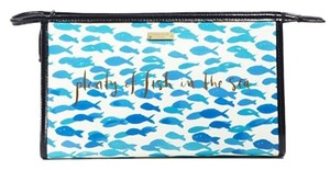 Kate Spade NEW WITH TAGS KATE SPADE CARRIBEAN BLUE DAVENPORT COURT IRIS COSMETIC BAG W/SLOGAN ON THE FRONT PWRU4300T