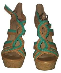 BCBGMAXAZRIA Turquoise and Camel Platforms