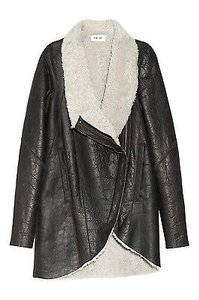 Helmut Lang Weathered Leather Shearling Fur Asymmetric Coat