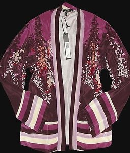 Winter Kate Opy Vintage Silk Asian Kimono Floral Bed Purple Jacket
