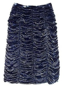 Burberry Prorsum Midnight Velvet Silk Ruched Draped Pencil Skirt Blue