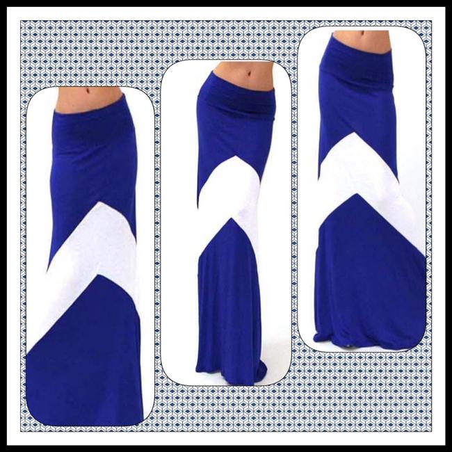 USA Boutique Bohemian Free People Anthropologie Hippie Chevron Long Comforable Soft Slimming Flattering Boho Maxi Skirt Royal Blue & White