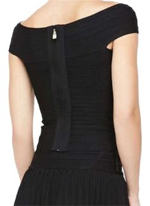 Hervé Leger Bandage Herve Off Shoulder Top Black with Gold zipper