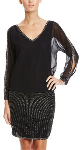 J Kara Sequin Beaded Sheer Dress