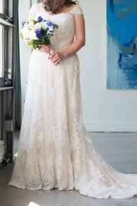 Sottero and Midgley Ivory Over Light Gold Lace On Tulle Viera Wedding Dress Size 14 (L)