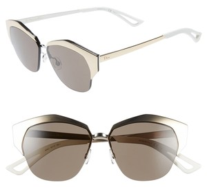 Dior Dior 'Mirrored' 55mm Round Cat Eye Sunglasses Pale Gold Palladium/Brown