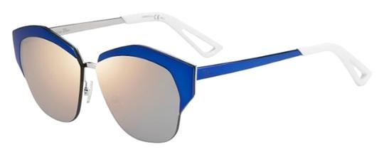Dior Dior 'Mirrored' 55mm Round Cat Eye Sunglasses Blue Silver/Grey Rose Gold Mirror