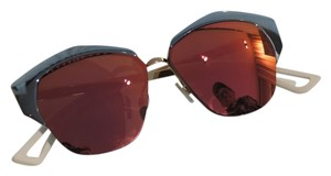 Dior Dior 'Mirrored' 55mm Round Cat Eye Sunglasses Azure Gold/Red Mirror