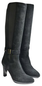 Aquatalia by Marvin K. Ramar Stretch Suede High Heel Riding Black Boots