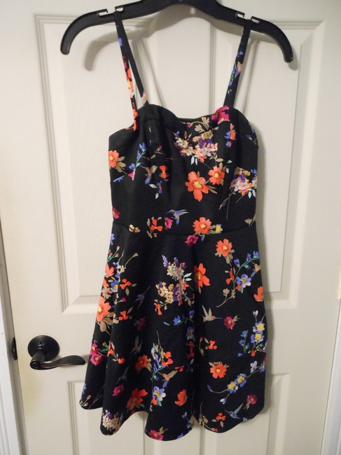 Express short dress Black Floral Fit And Flare on Tradesy
