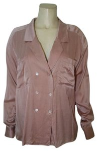 Valerie Stevens Silk Size 14 Light Long Sleeve P1708 Button Down Shirt pink