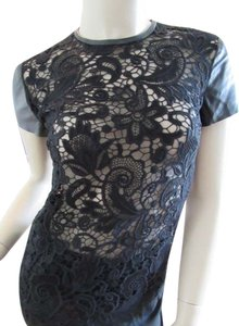 Ralph Lauren Lace Lace Lace With Lambskin Top Black