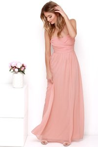 Lulu*s Peach Royal Engagement Strapless Dress