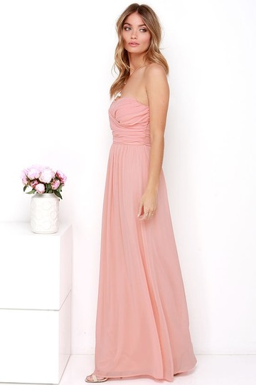 Lulu*s Peach Chiffon Royal Engagement Strapless Traditional Bridesmaid/Mob Dress Size 8 (M) Image 1
