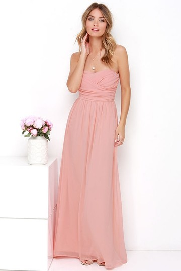 Lulu*s Peach Chiffon Royal Engagement Strapless Traditional Bridesmaid/Mob Dress Size 8 (M) Image 2