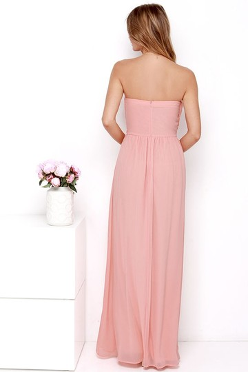 Lulu*s Peach Chiffon Royal Engagement Strapless Traditional Bridesmaid/Mob Dress Size 8 (M) Image 3