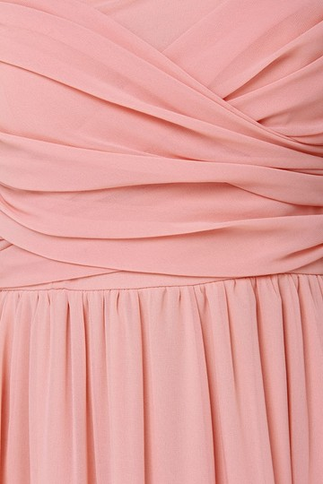 Lulu*s Peach Chiffon Royal Engagement Strapless Traditional Bridesmaid/Mob Dress Size 8 (M)